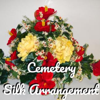 Cemetery silk arrangement